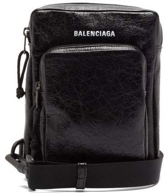 Balenciaga Explorer Crackled-leather Cross-body Bag - Mens - Black