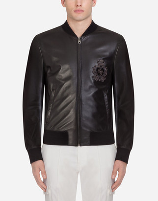Dolce & Gabbana Leather Jacket With Patch
