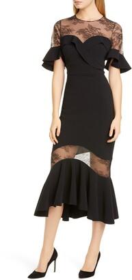 Marchesa Ruffle High/Low Crepe & Lace Midi Dress
