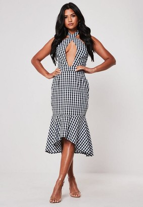 Missguided Black Gingham Tie Front Halterneck Frill Midi Dress