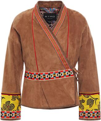 Etro Jacquard-trimmed Suede Kimono