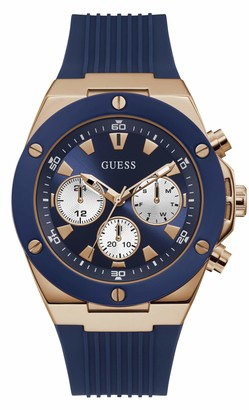 GUESS Men's Stainless Steel Analog Quartz Watch with Silicone Strap