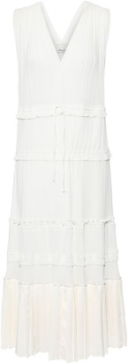 3.1 Phillip Lim Pleated Satin-paneled Crepe De Chine Dress