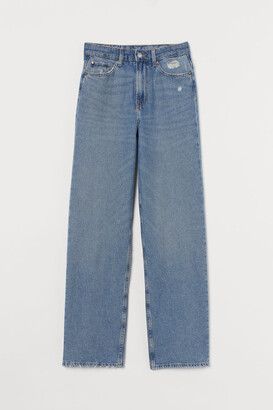 H&M Loose Straight High Jeans - Blue