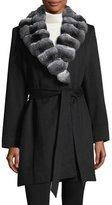 Sofia Cashmere Chinchilla-Trim Belted Cashmere Wrap Coat