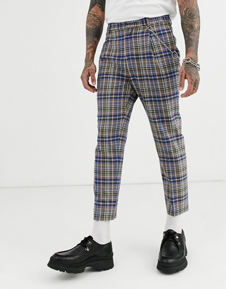 ASOS DESIGN tapered crop smart trousers in grey and blue check with metal pocket chain