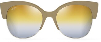 Maui Jim Sunglasses | Female | Mariposa DGS817-24F | Silver Mink With Silver Fashion Frame Frame Polarized Dual Mirror Gold To Silver Lenses with Patented PolarizedPlus2 Lens Technology