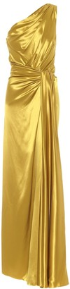 Dolce & Gabbana One-shoulder silk-satin gown