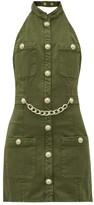 Balmain Halterneck Cotton-blend Canvas Mini Dress - Womens - Khaki