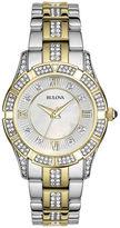 Bulova Womens Crystal 2-Tone Watch 98L135