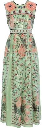 Anna Sui Embellished Pleated Printed Fil Coupe Silk-blend Maxi Dress