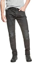 GUESS Slim Tapered Pintuck Moto Jeans
