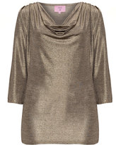 Velvet Pop Plus Size Cowl neck metallic top