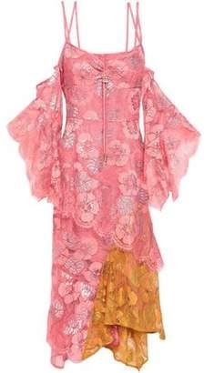 Peter Pilotto Cold-shoulder Paneled Metallic Lace Midi Dress
