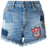 Just Cavalli patches denim shorts - women - Cotton/Linen/Flax/Polyester/Metallic Fibre - 25