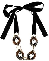 Marni Wood & Bead Chain Link Ribbon Necklace