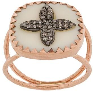 Pascale Monvoisin 9kt rose gold BOWIE N2 WHITE DIAMOND ring