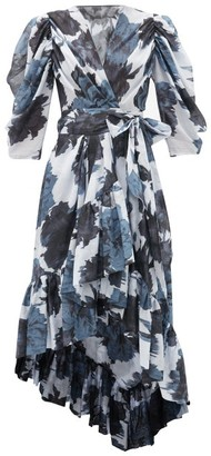 Alexandre Vauthier Floral-print Cotton-voile Wrap Dress - Navy Print