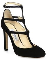 Jimmy Choo Doll 100 Suede & Patent Leather T-Strap Pumps