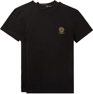 Versace Two-pack Slim-fit Logo-print Stretch-cotton Jersey T-shirts - Black