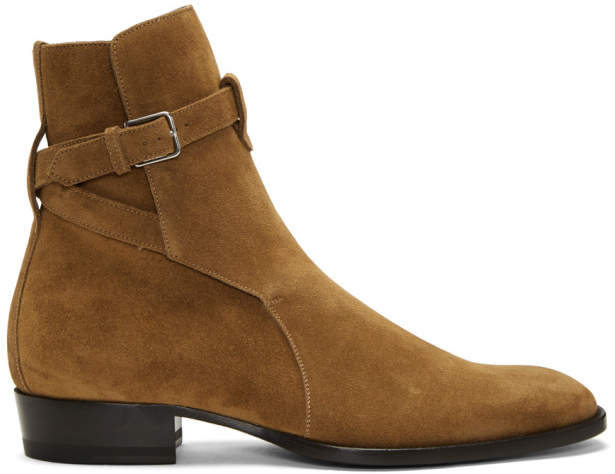 Saint Laurent Tan Suede Wyatt Jodhpur Boots