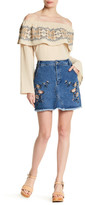 Lunik Embroidered Floral Denim Mini Skirt