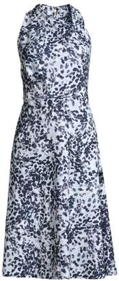 Donna Karan Twist Neck Dot Fit-&-Flare Dress