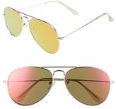 BP Women's 59Mm Mirrored Aviator Sunglasses - Yellow/ Gold