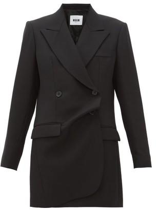 MSGM Misalinged Double-breasted Wool Mini Dress - Black