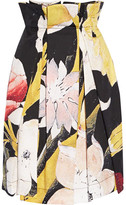 Vivienne Westwood Cristos Floral-print Pleated Cotton Skirt - Black