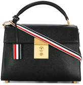 Thom Browne Unstructured Mrs. Thom (32x23x11 Cm) With Red, White And Blue Shoulder Strap In Pebble Lucido Leather