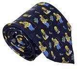 The Simpsons Mens 100% Silk 10cm Homer Simpson Novelty Quirky Navy Tie Necktie