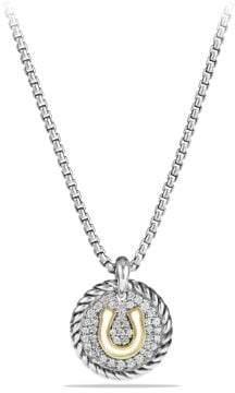 David Yurman Petite Pave Horseshoe Charm Necklace With Diamonds And