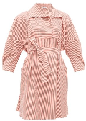 Palmer Harding Palmer//harding - Sailor-collar Striped Cotton-poplin Shirt Dress - Red White
