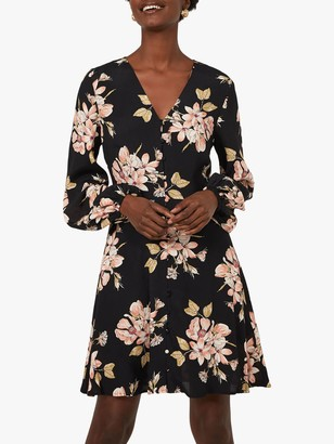 Warehouse Sia Floral Printed Mini Tea Dress, Black Pattern