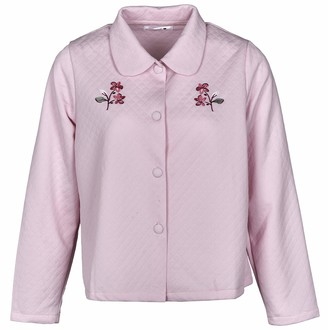 Maan Store Ladies Bed Jacket with Floral Embroidery and Pockets Quilted Design Fabric Pink