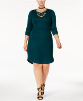 Planet Gold Trendy Plus Size Lattice-Trim Sheath Dress