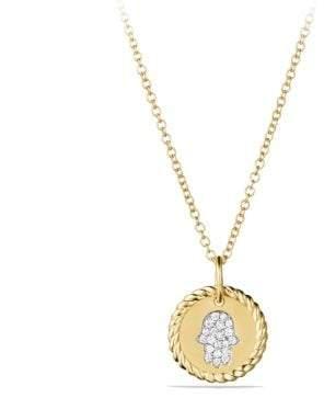 David Yurman Petite Pave Hamsa Necklace With Diamonds In 18K Gold
