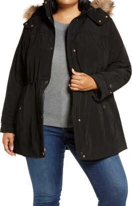 Gallery Hooded Coat with Removable Faux Fur Trim
