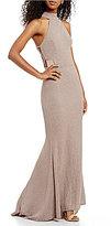 Xtraordinary High-Neck Glitter Knit Long Dress