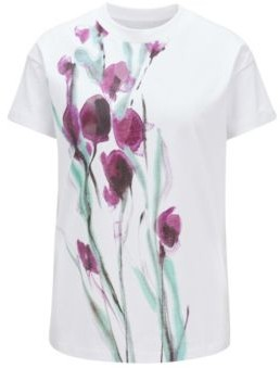 HUGO BOSS Cotton Jersey Top With Mixed Print Artwork - Patterned