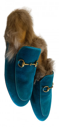 Gucci Princetown Turquoise Suede Flats
