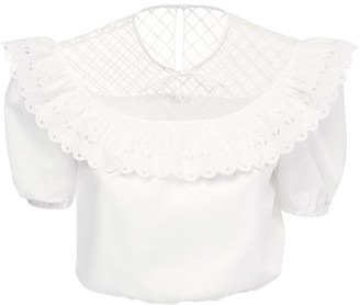 Miu Miu Lace & Tulle Poplin Crop Shirt