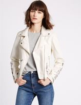 Marks and Spencer PU Floral Embroidered Jacket