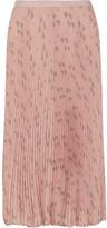 Valentino Pleated Printed Silk Crepe De Chine Midi Skirt - Blush