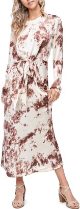 En Saison Long Sleeve Tie Dye Midi Dress