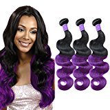 MAOYUAN 8A Ombre Mink Brazilian Virgin Hair Body Wave Purple Ombre Human Hair Weave 3 Bundles 300g 130% Density Hair Extensions (18 20 20, Purple)