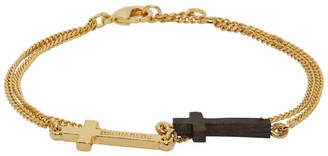 DSQUARED2 Gold and Wood Double Cross Bracelet