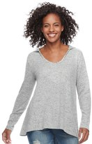 Juicy Couture Women's Hooded Scoopneck Sweater