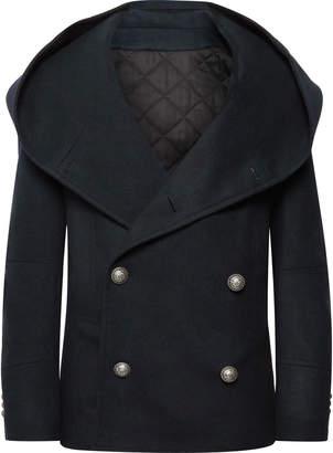 Balmain Slim-Fit Wool-Blend Hooded Peacoat